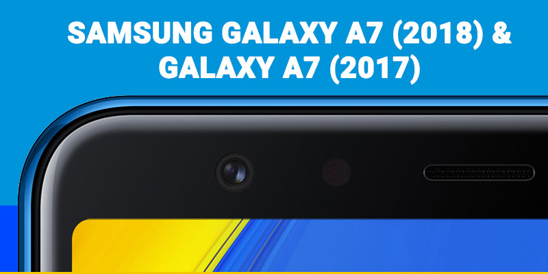 Galaxy A7 (2018) smartphone closeup