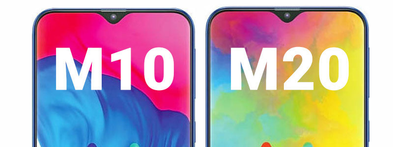 Samsung Galaxy M20 and Galaxy M10 side by side size comparison