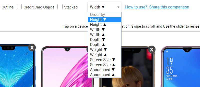 Order phones by width, height, depth and screen size