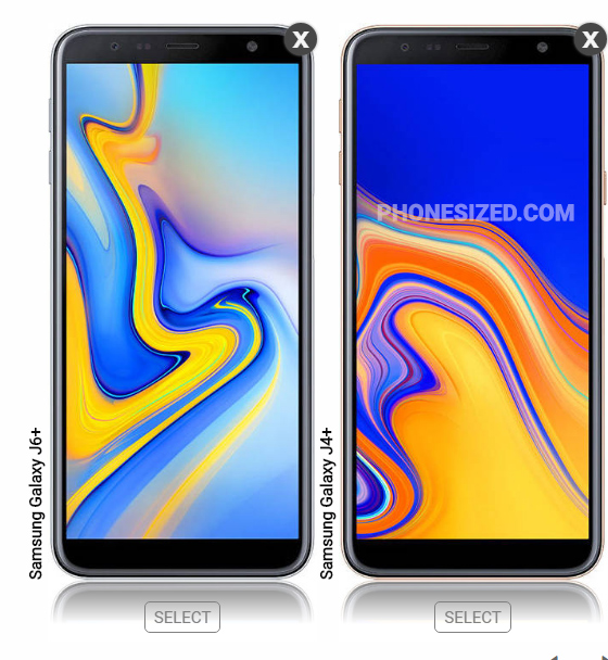 Galaxy J6+ and J4+ size comparison