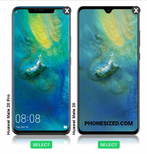 Huawei Mate 20 Pro vs Mate 20 size comparison