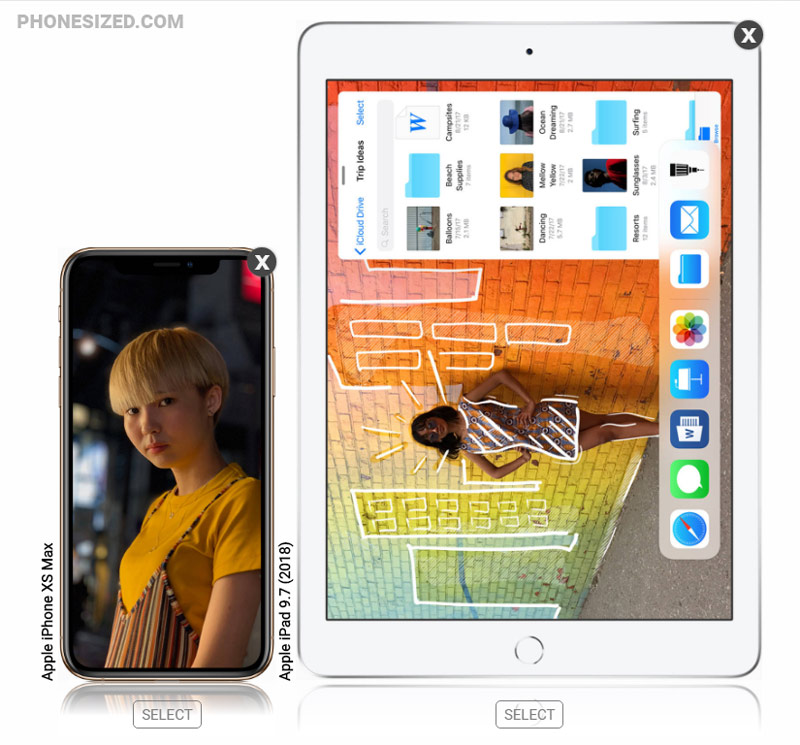 iPhone XS Max alongside iPad 9.7-inch (2018) tablet size comparison
