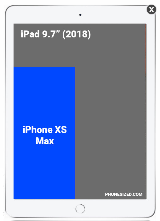 Screen size comparison: iPhone XS Max vs iPad 9.7-inch (2018)