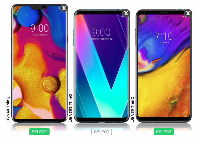 LG V40 ThinQ vs V30S, V35 side by side