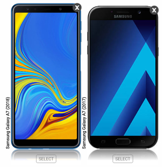Galaxy A7 (2018) and A7 (2017) side by side size comparison